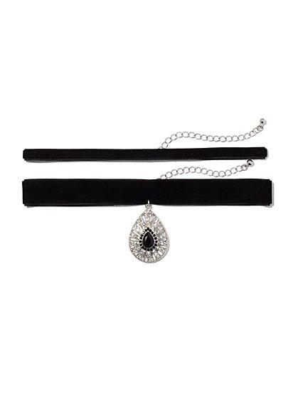 2-Row Velvet Choker Necklace  - New York & Company