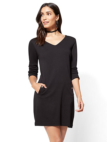 3/4-Sleeve Cotton Shift Dress  - New York & Company