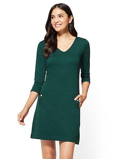 3/4-Sleeve Cotton Shift Dress  - New York & Company