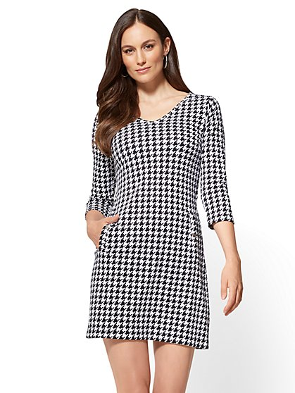 3/4-Sleeve Shift Dress - Houndstooth - New York & Company