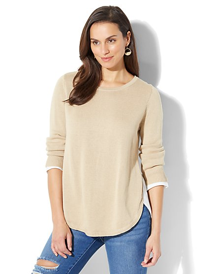 3/4-Sleeve Twofer Top - New York & Company