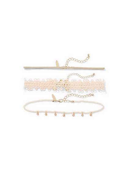 3-Piece Beaded Choker Necklace Set  - New York & Company