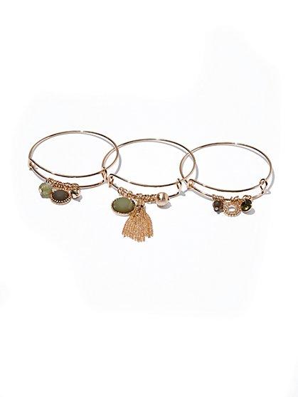 3-Piece Charm Bangle Bracelet Set  - New York & Company