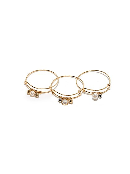 3-Piece Charm Bangle Bracelet Set  - New York & Company