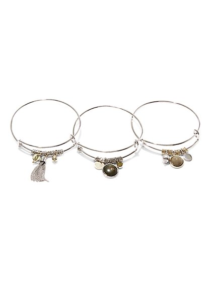 3-Piece Charm Bangle Bracelets  - New York & Company