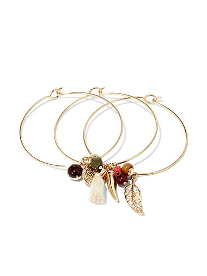 3-Piece Charm & Beaded Bangle Bracelet Set  - New York & Company