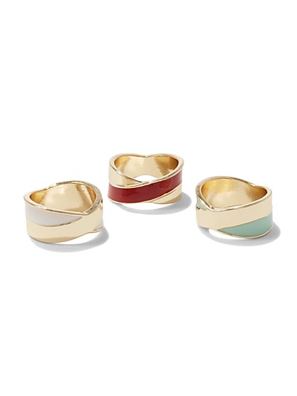 3-Piece Colorblock Ring Set  - New York & Company