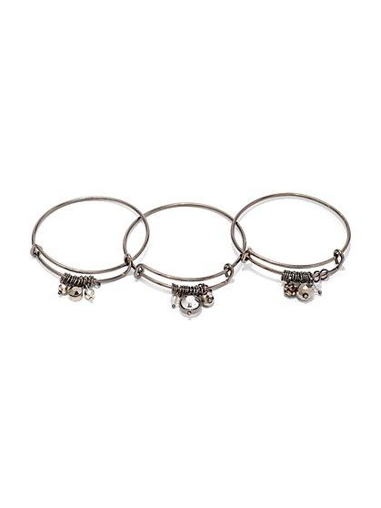 3-Piece Crystal Charm Bangle Bracelet Set - New York & Company