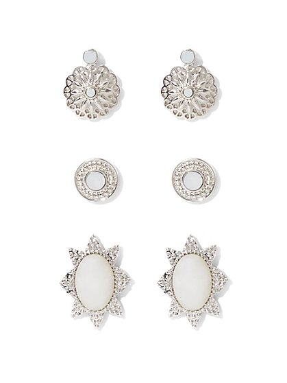 3-Piece Embellished Post Earring Set  - New York & Company