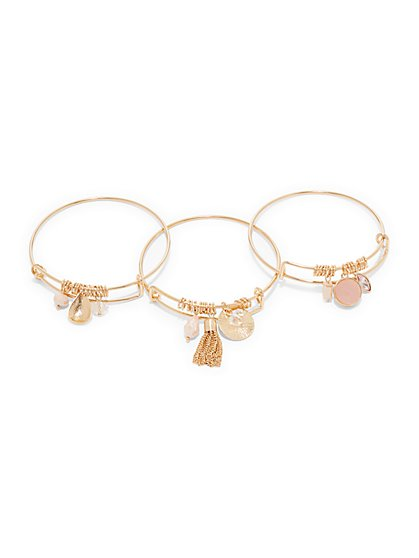 3-Piece Faux-Druzy Bangle Bracelet Set  - New York & Company