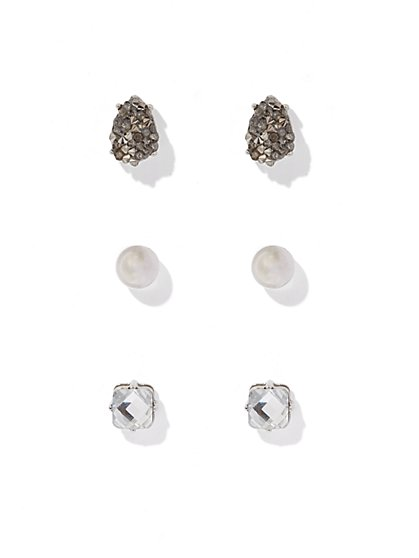 3-Piece Faux Pearl & Sparkling Accent Post Earring Set  - New York & Company