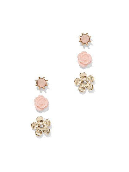 3-Piece Floral Post Earring Set  - New York & Company