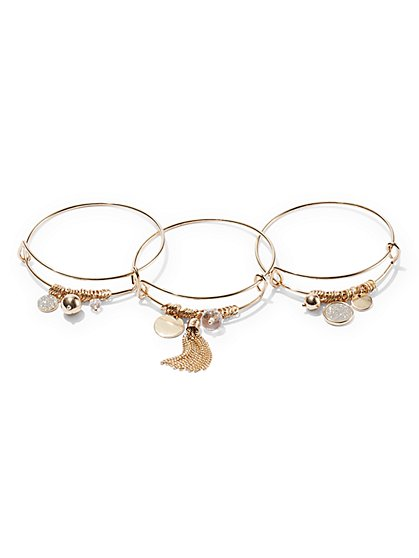 3-Piece Goldtone Bangle Bracelet Set  - New York & Company