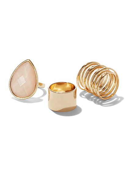 3-Piece Goldtone Ring Set  - New York & Company