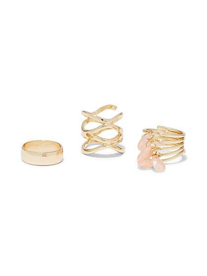 3-Piece Goldtone Ring Set  - New York & Company