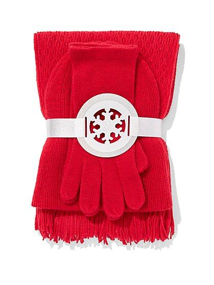 3-Piece Honeycomb Hat, Scarf & Glove Set - New York & Company
