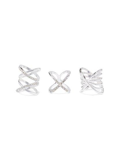 3-Piece Pave Bar Ring Set - New York & Company