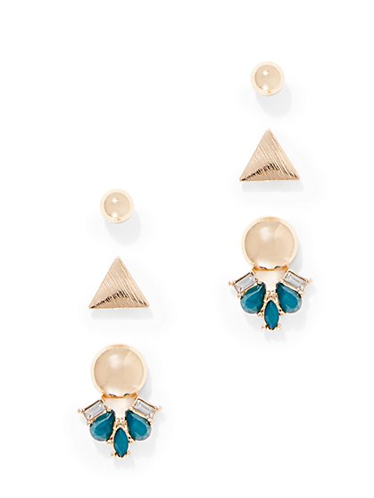 3-Piece Polished Goldtone Post Earring Set  - New York & Company