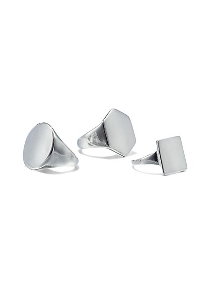 3-Piece Polished Ring Set - New York & Company
