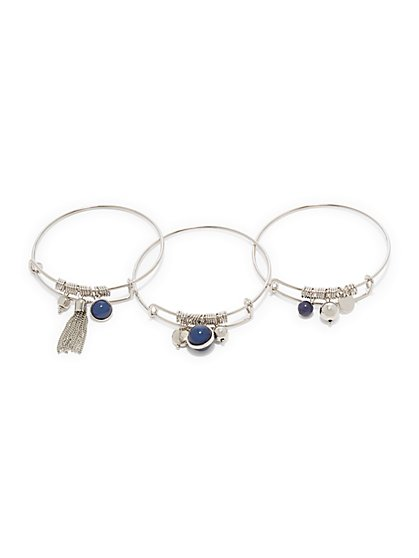 3-Piece Silvertone Bangle Bracelet Set  - New York & Company