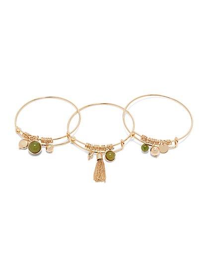 3-Piece Silvertone Bangle Bracelet Set  - New York & Company