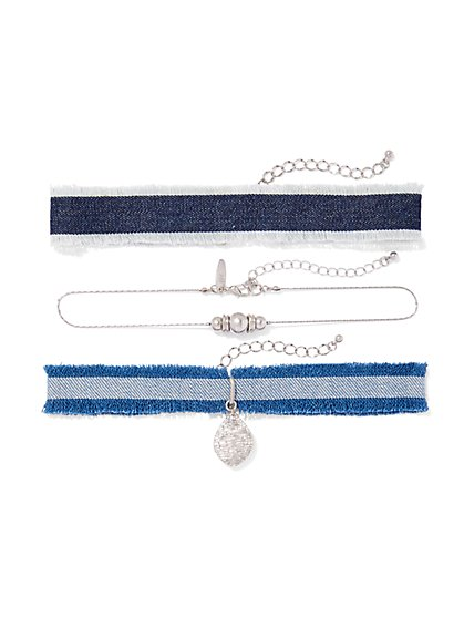 3-Piece Silvertone Choker Necklace Set  - New York & Company