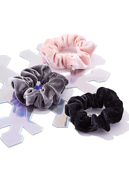 3-Piece Velvet Scrunchie Set  - New York & Company