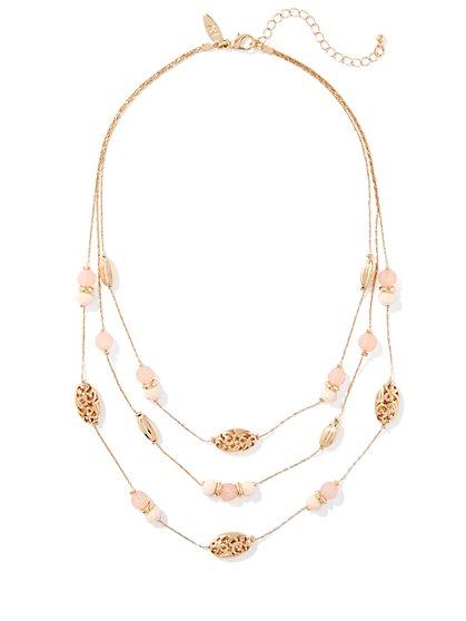 3-Row Beaded Illusion Necklace  - New York & Company
