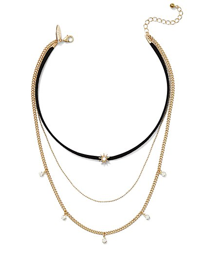 3-Row Choker Necklace  - New York & Company