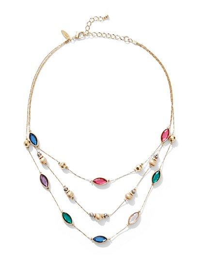 3-Row Jeweled Illusion Necklace - New York & Company