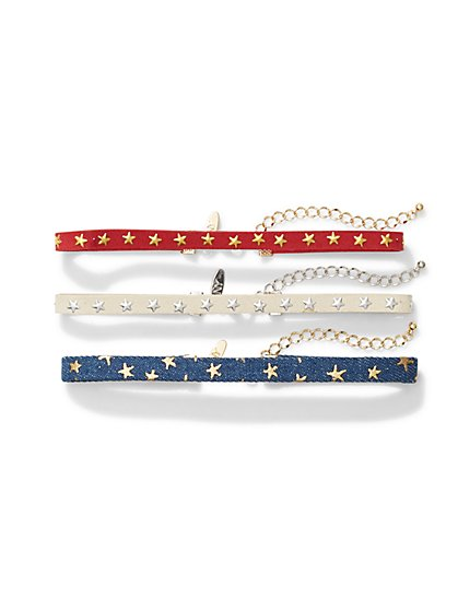 3-Row Star-Accent Choker Necklace  - New York & Company
