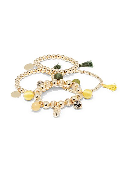 4-Piece Beaded Stretch Bracelet Set  - New York & Company