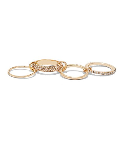 4-Piece Linked Ring Set - New York & Company