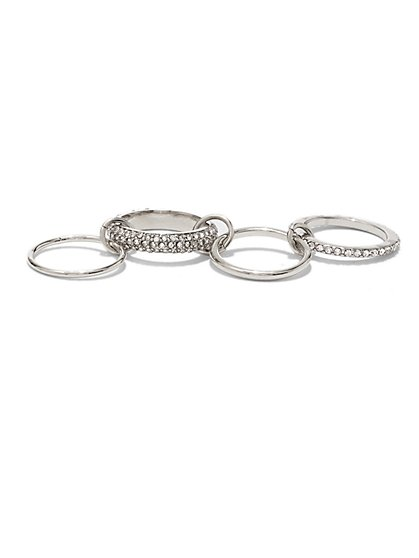 4-Piece Linked Ring Set - New York & Company