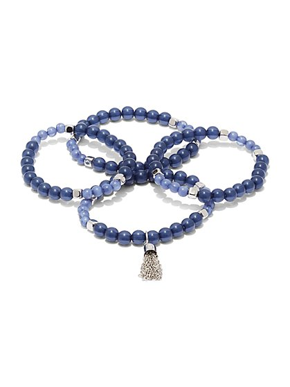 4-Piece Tassel Accent Beaded Stretch Bracelet  - New York & Company