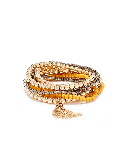 5-Piece Beaded Stretch Bracelet  - New York & Company
