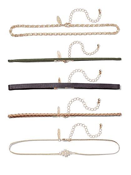 5-Piece Goldtone Choker Necklace Set  - New York & Company