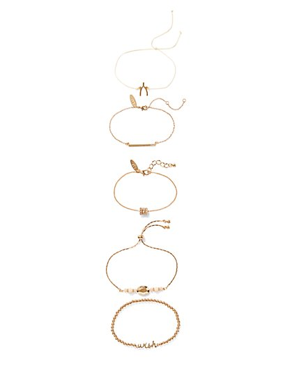 5-Piece Goldtone Stretch Bracelet Set - New York & Company