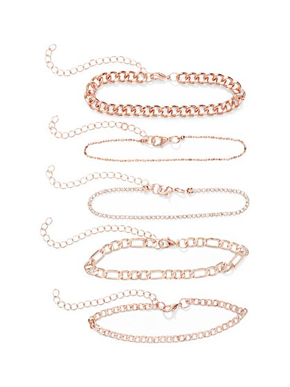 5-Piece Rose Goldtone Bracelet Set  - New York & Company
