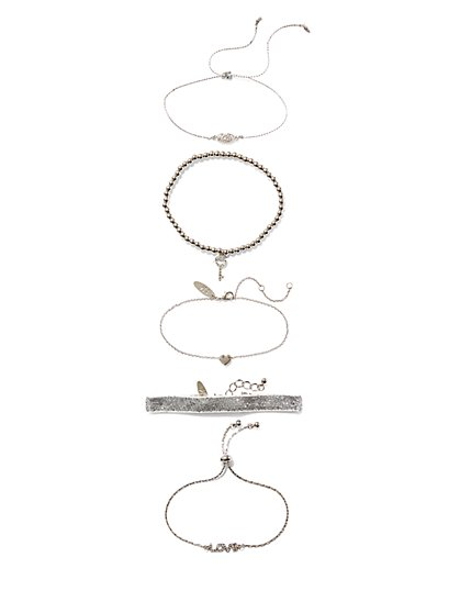 5-Piece Silvertone Stretch Bracelet - New York & Company