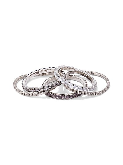 5-Piece Sparkling Mesh Stretch Bracelet Set - New York & Company