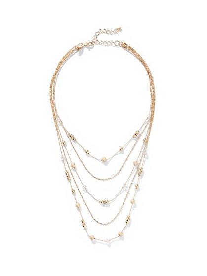 5-Row Beaded Illusion Necklace - New York & Company