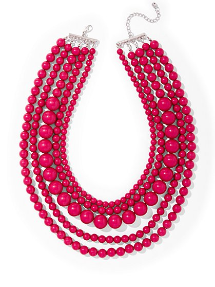 5-Row Beaded Statement Necklace  - New York & Company