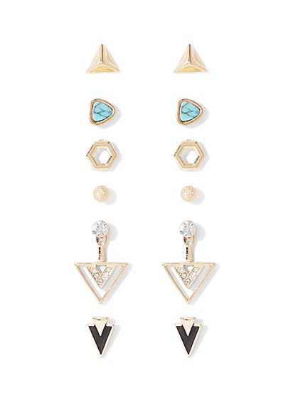 6-Piece Geo Post Earring Set  - New York & Company
