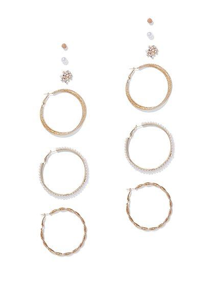 6-Piece Goldtone Hoop & Post Earring Set - New York & Company