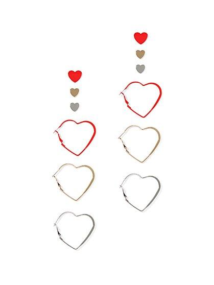 6-Piece Heart Hoop & Post Earring Set - New York & Company