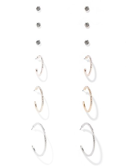 6-Piece Pave Hoop & Post Earring Set - New York & Company