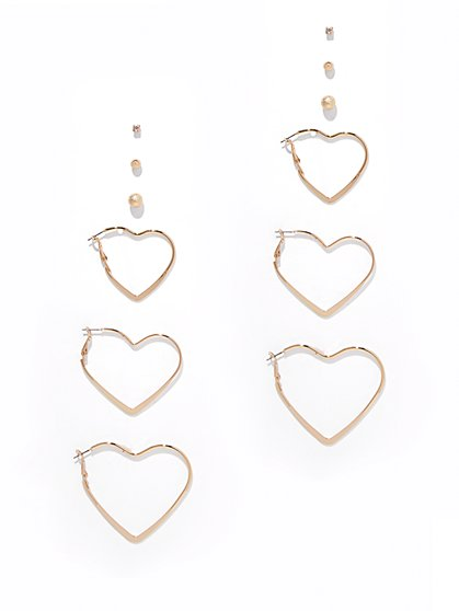 6-Piece Post & Heart Hoop Earring Set  - New York & Company
