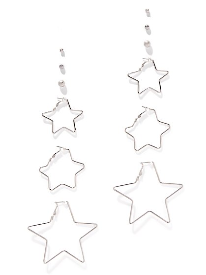 6-Piece Post & Star Hoop Earring Set  - New York & Company