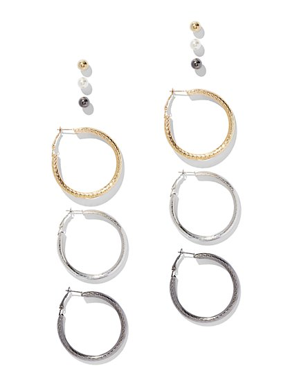 6-Piece Post & Textured Hoop Earring Set - New York & Company